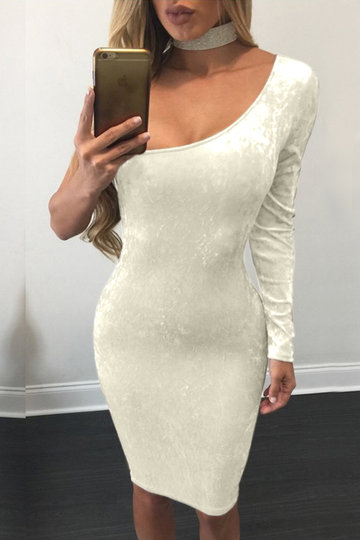 Apricot Bodycon Velvet One Shoulder Midi Dress